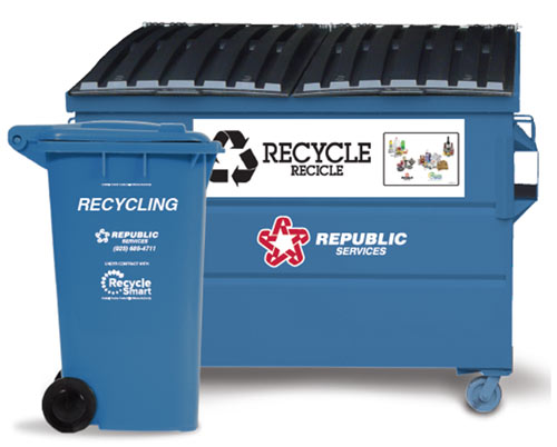 Blue Recycling Cart and Bin